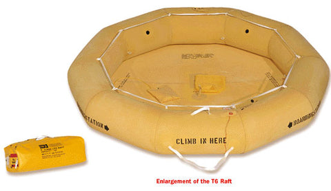 Life Raft (T6),  Classic Rafts, Single Tube,  FAA Type II, 6-Man - Life Rafts - Life Support International, Inc.