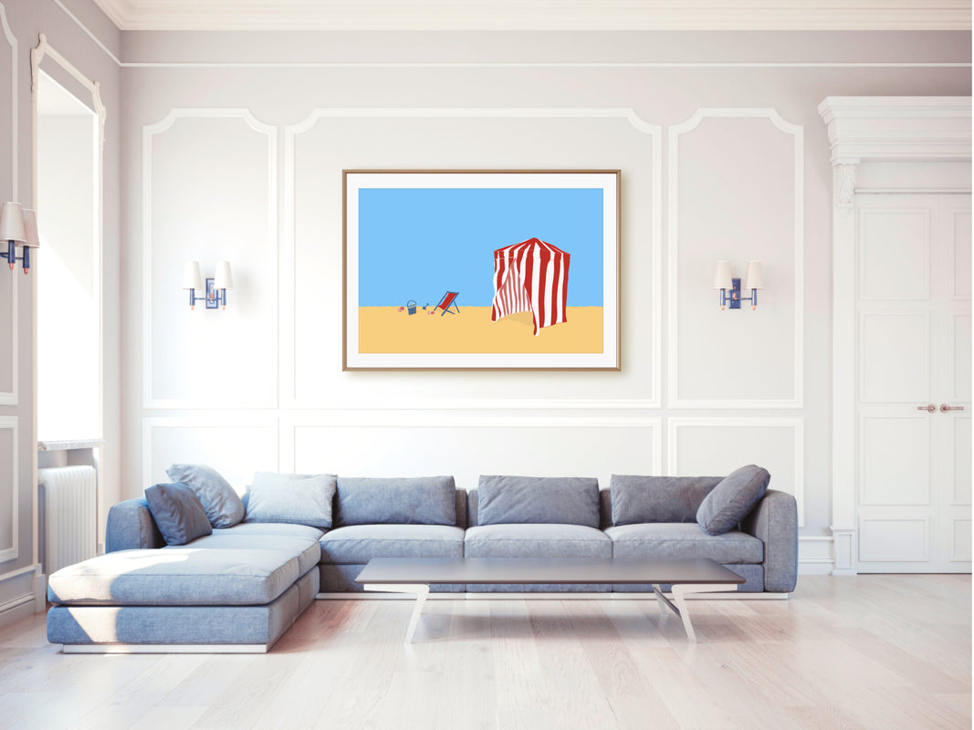 Deauville beach poster in a living room