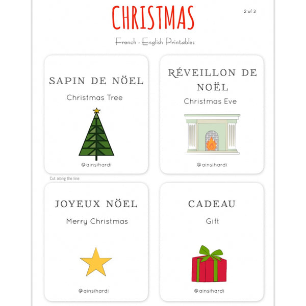 Christmas - FREE French | English Flashcards - Printable from Paris France
