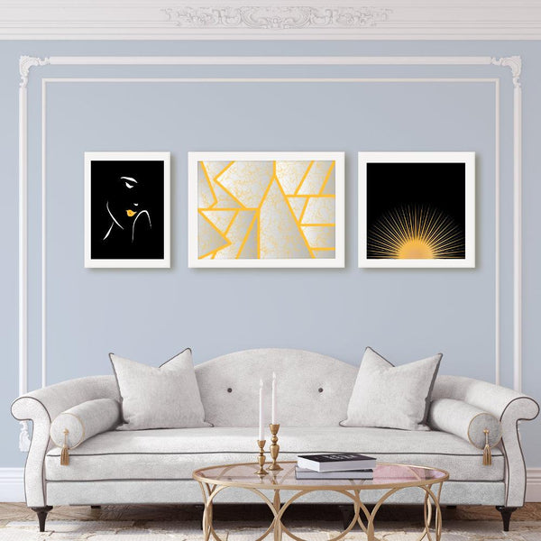 Good Morning Sunshine | Black and Golden Yellow Art Poster - Poster from Ainsi Hardi Paris France