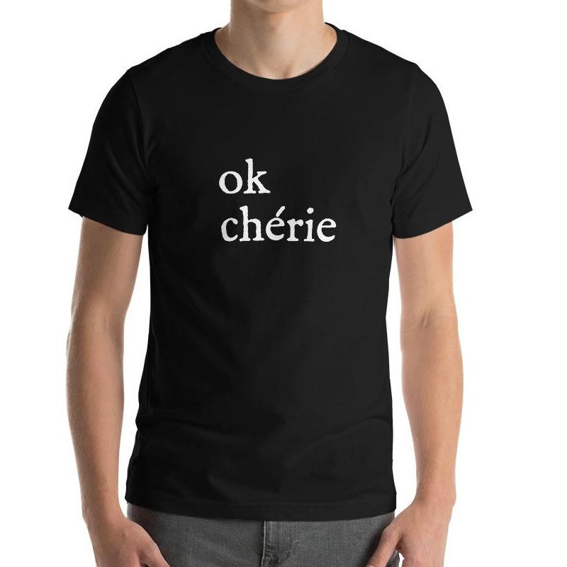 Ok Chérie | Men's Short-Sleeve Black T-Shirt - Men's T-Shirt from Ainsi Hardi Paris France