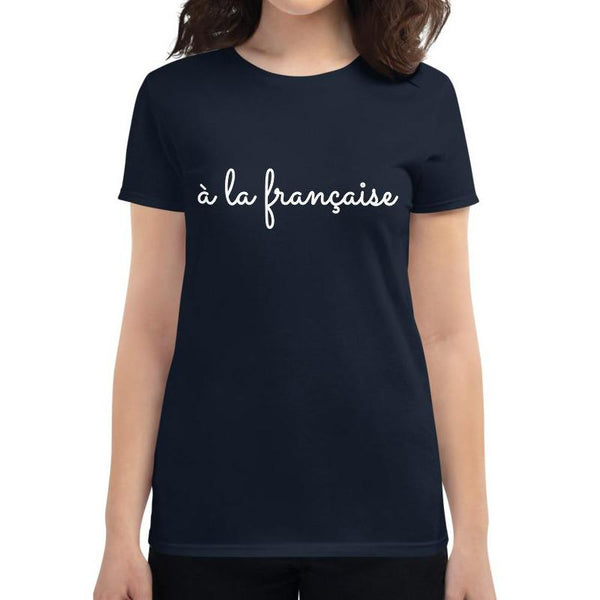 A la Française | Women's short sleeve Navy t-shirt - Women's T-shirt from Ainsi Hardi Paris France