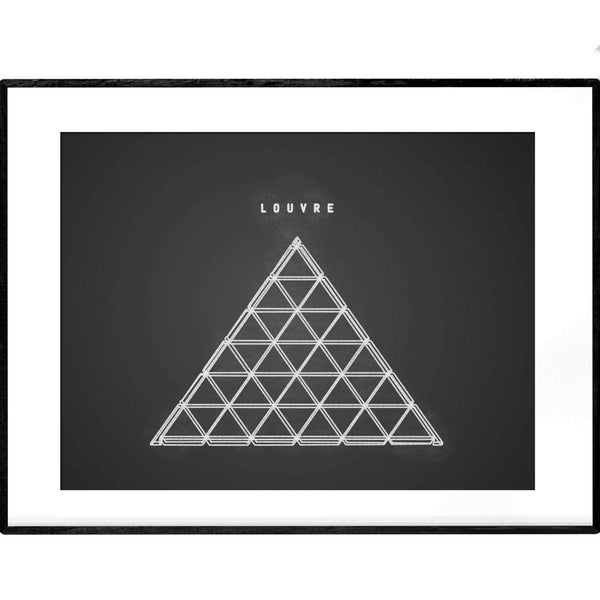 Louvre Museum | Black and White Line Art - Poster from Paris France