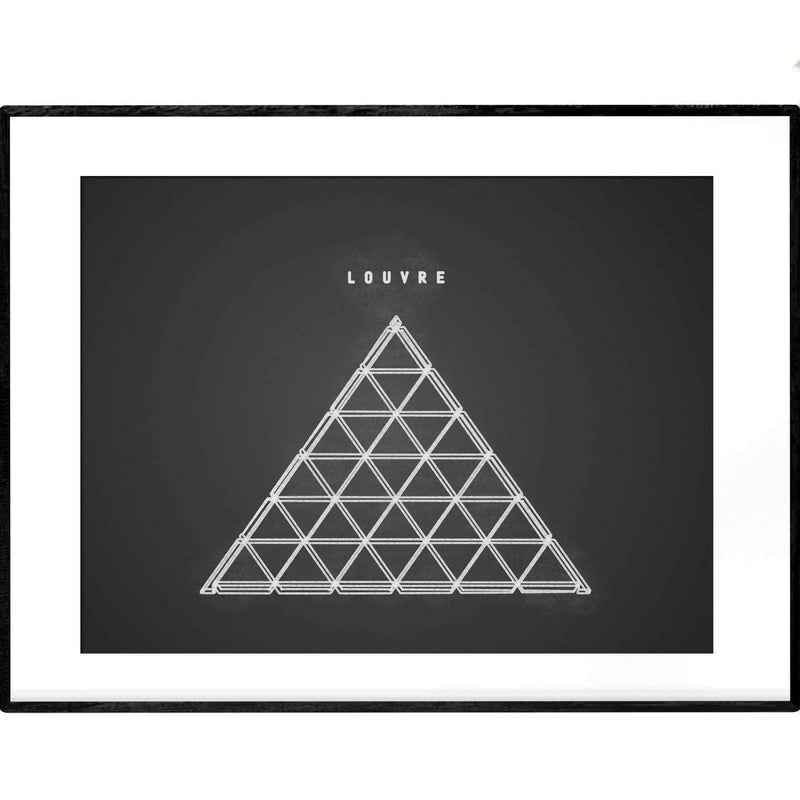 Louvre Museum | Black and White Line Art - Poster from Ainsi Hardi Paris France