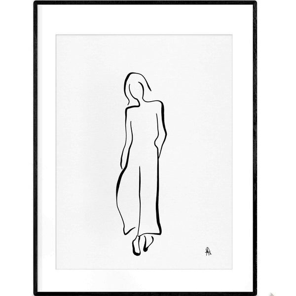 La Parisienne | Black and White Line Art Poster - Poster from Ainsi Hardi Paris France