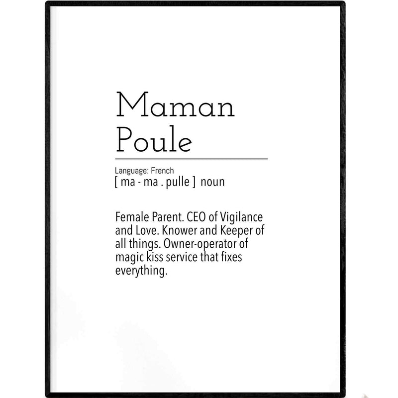 Definition: Maman Poule | Black and White Typography Poster - Poster from Ainsi Hardi Paris France