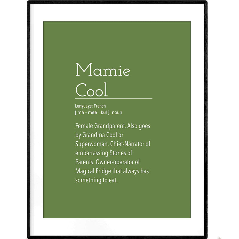 Definition: Grandma Cool | Green and White Typography Poster - Poster from Ainsi Hardi Paris France