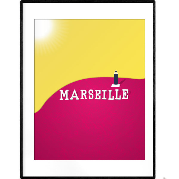 Marseille Lighthouse | Neon Yellow Pink Giclée Print - Poster from Ainsi Hardi Paris France
