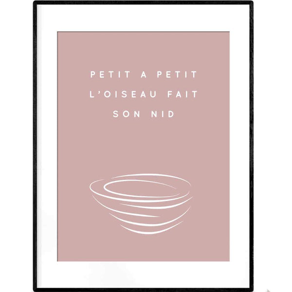 Building a Nest in Pink | Typography French Quotation Poster - Poster from Ainsi Hardi Paris France
