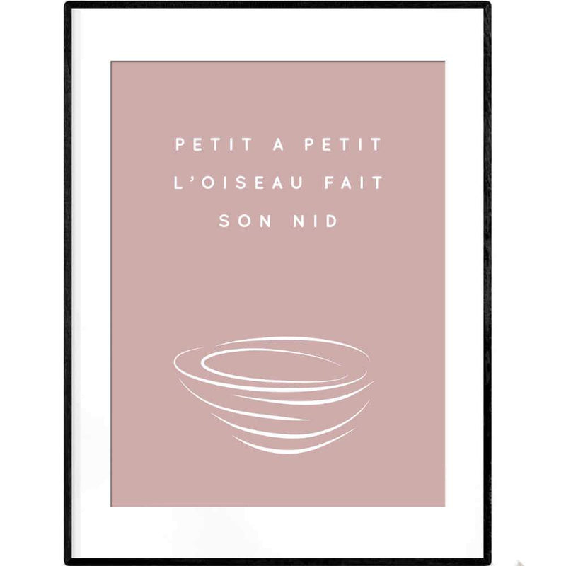 Building a Nest in Pink | Typography French Quotation Poster - Poster from Paris France
