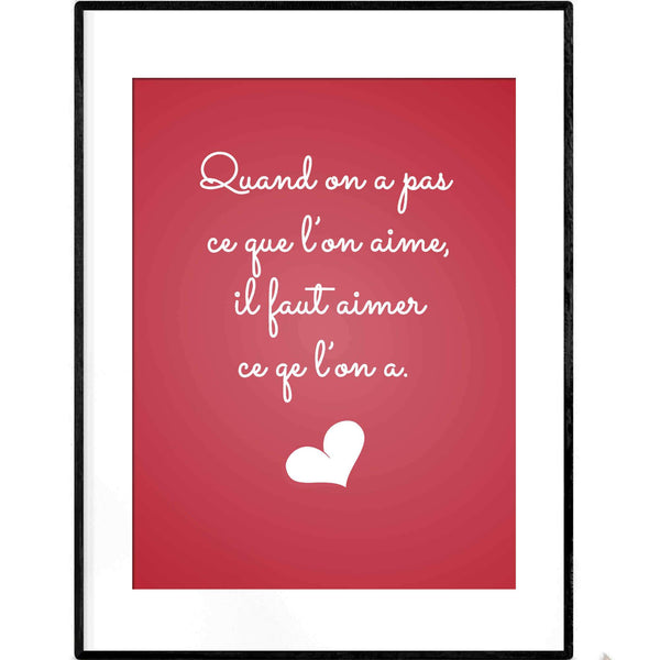 Love French Quotation | Vintage Red Typography Poster - Poster from Ainsi Hardi Paris France