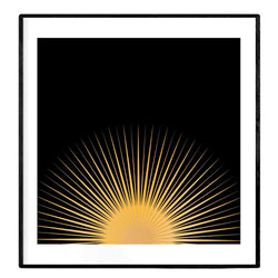 Good Morning Sunshine | Black and Golden Yellow Art Poster - Poster from Paris France