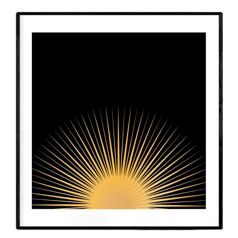 Good Morning Sunshine | Black and Golden Yellow Giclée Poster - Poster from Ainsi Hardi Paris France