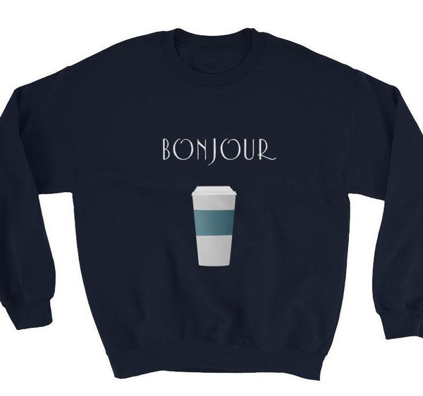 Bonjour Coffee Dark Blue Sweatshirt - Women's Sweatshirt from Ainsi Hardi Paris France