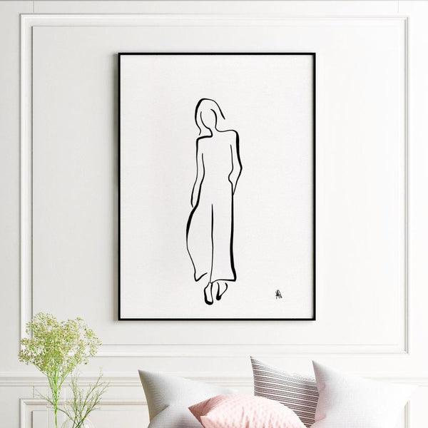 La Parisienne | Black and White Line Giclée Print - Poster from Ainsi Hardi Paris France
