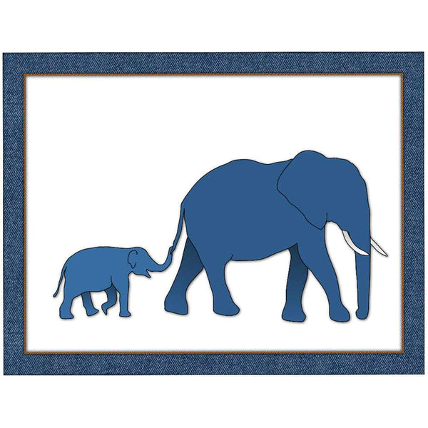 Blue elephants | Parent and Baby Giclée Print - Poster from Ainsi Hardi Paris France