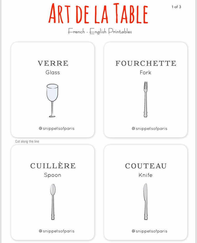 Art of the Table - FREE French | English Flashcards - Printable from Ainsi Hardi Paris France