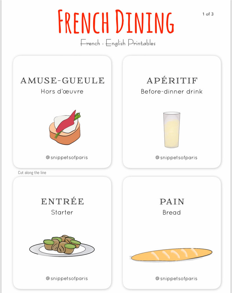 The French Menu - FREE French | English Flashcards - Printable from Ainsi Hardi Paris France