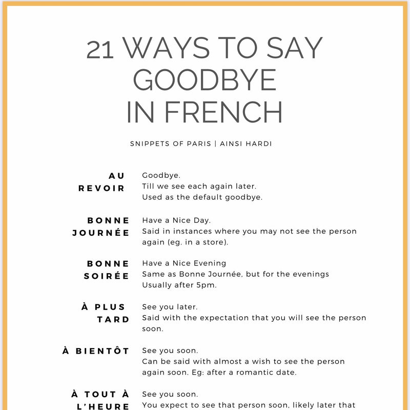 21 Ways to say Goodbye in French | Free Printable - Printable from Ainsi Hardi Paris France