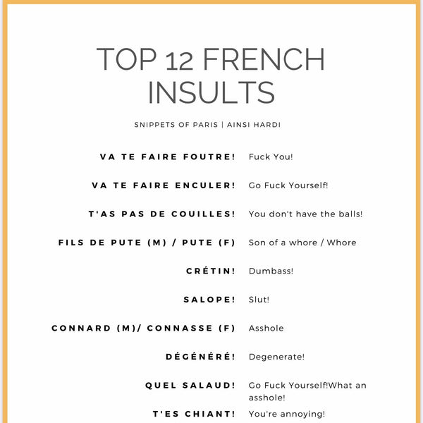 12 French Insults - Hardcore | Free Printable - Printable from Ainsi Hardi Paris France