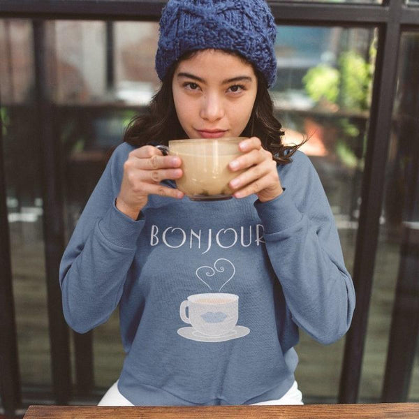 Bonjour Tea Parisian SkyBlue Sweatshirt - Women's Sweatshirt from Ainsi Hardi Paris France