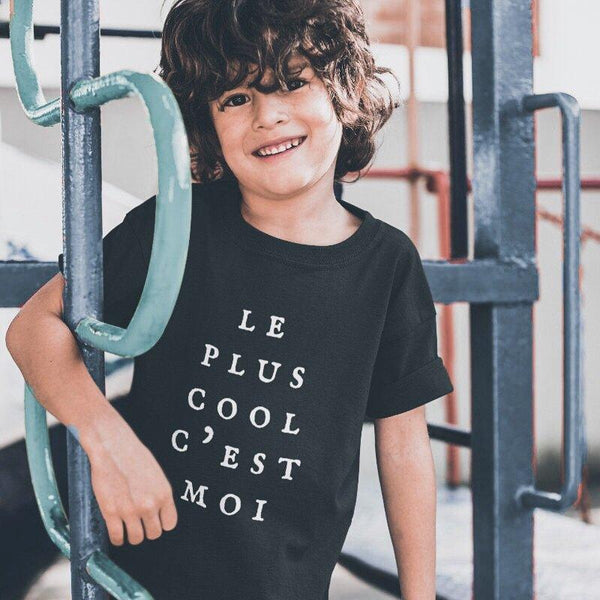 Le Plus Cool C'est Moi Children's Black T-shirt - Children's T-Shirt from Paris France