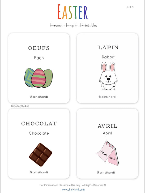 Easter - FREE French | English Flashcards - Printable from Paris France
