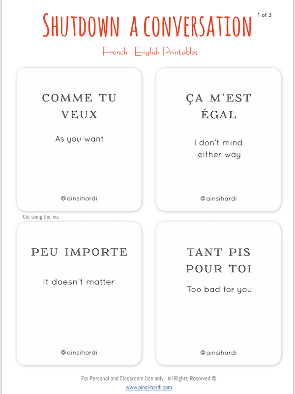 Shut down a conversation - FREE French | English Flashcards - Printable from Paris France