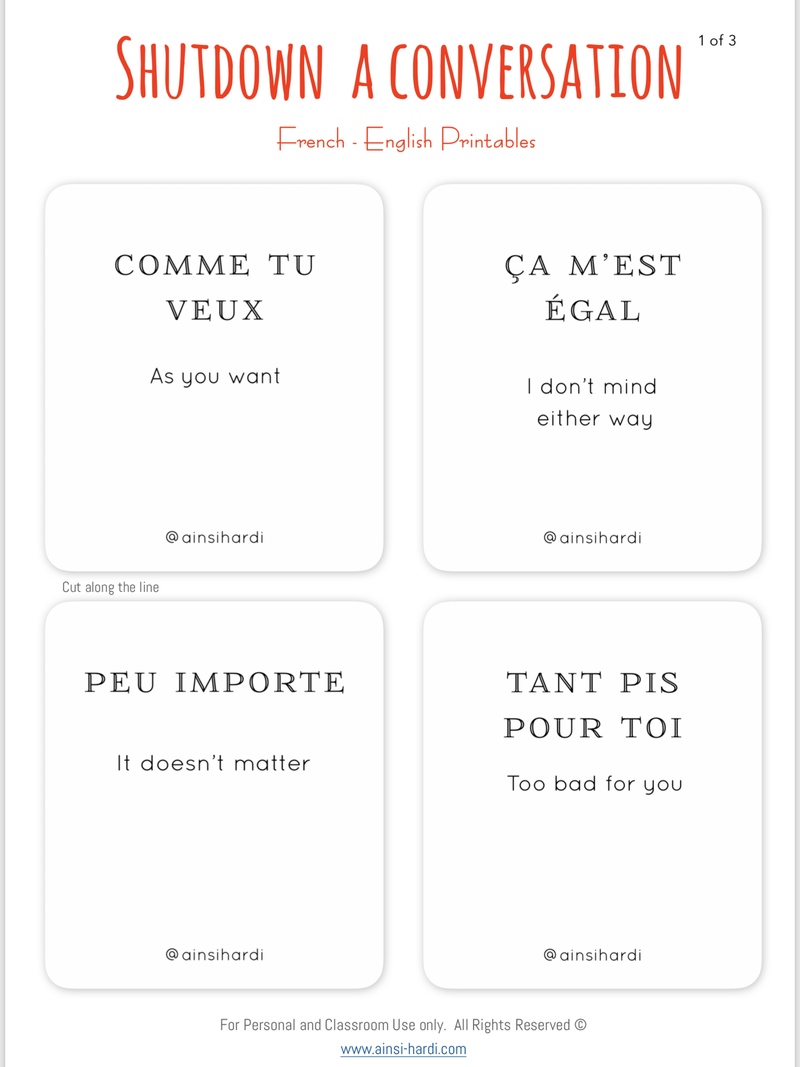 Shut down a conversation - FREE French | English Flashcards - Printable from Ainsi Hardi Paris France