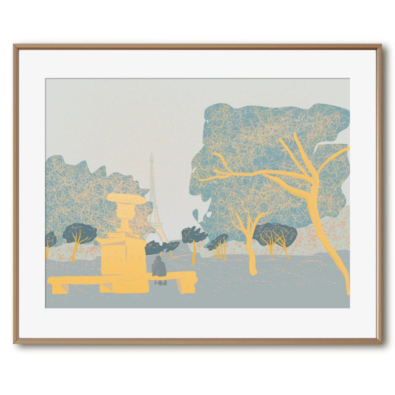 Shades of Gold in Champs de Mars | Art Poster - Poster from Ainsi Hardi Paris France