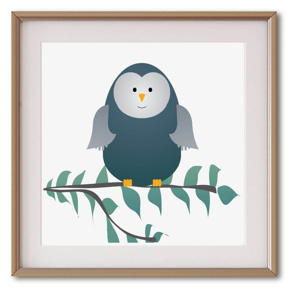Little Blue Green Owl | Giclée Print - Poster from Ainsi Hardi Paris France