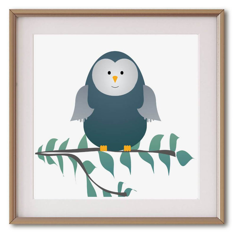 Little Blue Green Owl | Art Poster - Poster from Ainsi Hardi Paris France