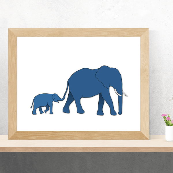 Blue elephant and baby | Art Print - Poster from Paris France