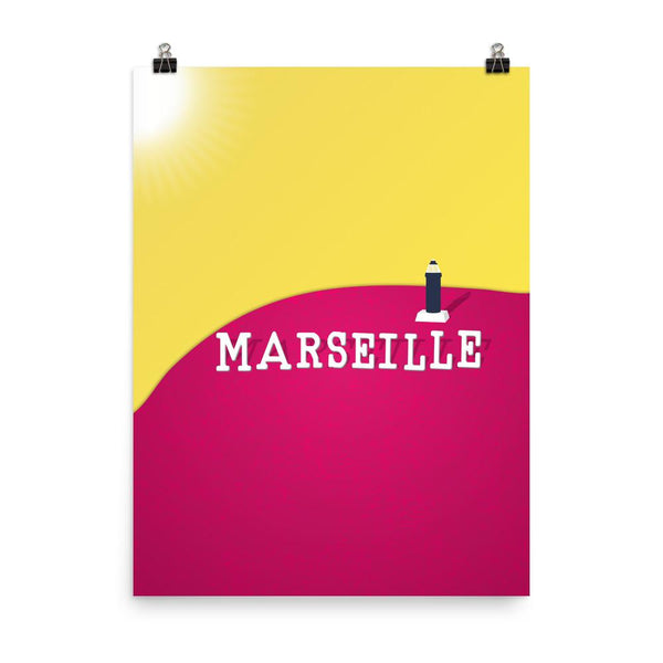 Marseille Lighthouse | Neon Yellow Pink Art Poster - Poster from Ainsi Hardi Paris France