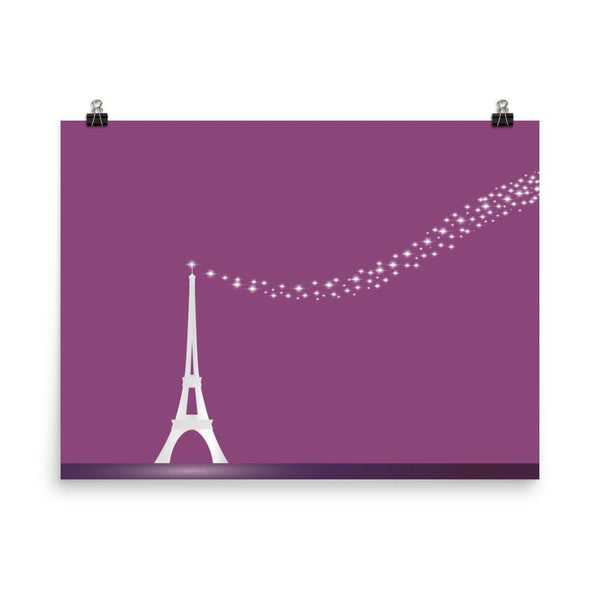 Stars in the Purple Night | Eiffel Tower Paris | Art Print - Poster from Ainsi Hardi Paris France