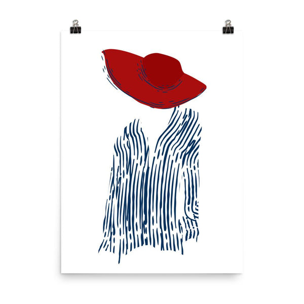 Fille française with a red hat | Art Print - Poster from Ainsi Hardi Paris France