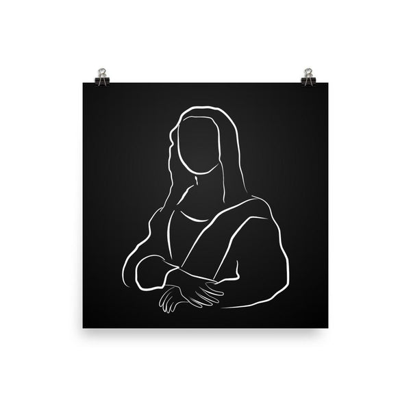 Mona Lisa en Noir | Black and White Line Giclée Print - Poster from Ainsi Hardi Paris France