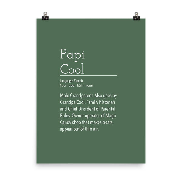 Definition: Grandpa Cool | Dark Green and White Typography Poster - Poster from Ainsi Hardi Paris France