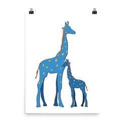 Blue Giraffe | Parent and Baby Giclée Print - Poster from Ainsi Hardi Paris France
