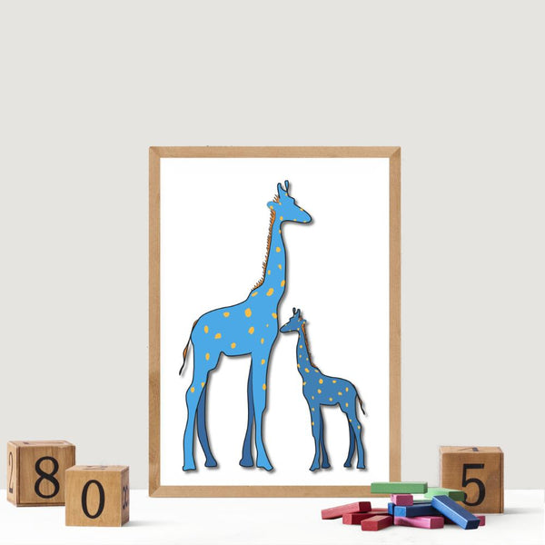 Blue Giraffe and Baby | Art Print - Poster from Paris France