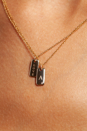 Engraved Initial Tag Necklace with Diamond