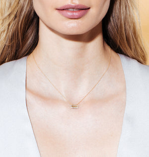 Horizontal Diamond Edge Tag Necklace