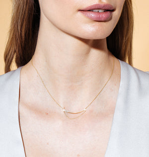Asymmetrical Diamond Bar Necklace