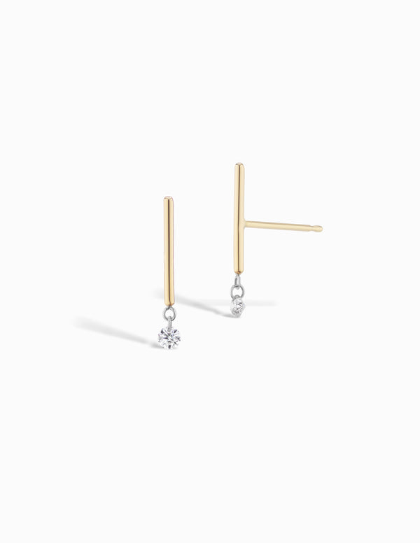 Pierced Diamond Bar Earrings