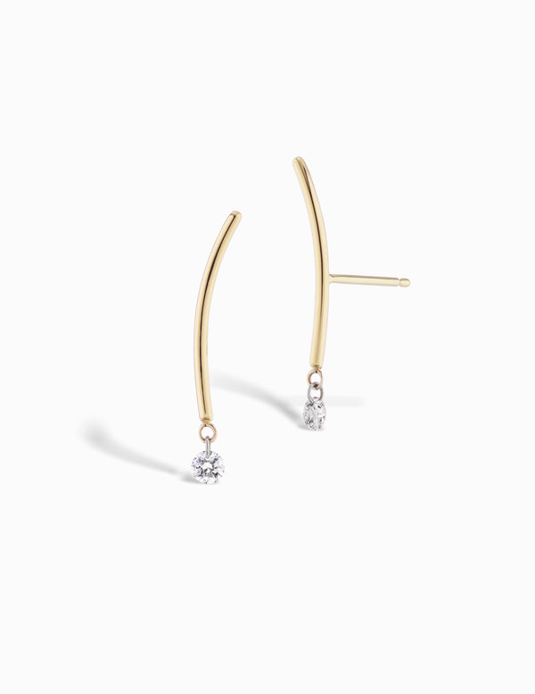 Pierced Diamond Curve Earrings