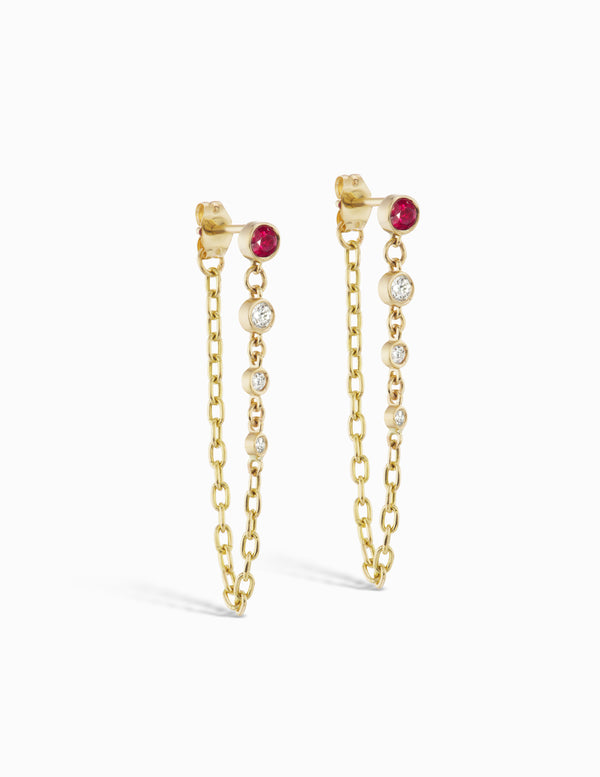 Diamond and Ruby Chain Dangle Earrings