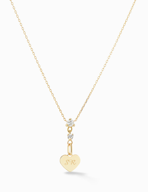 Diamond Drop Heart Necklace