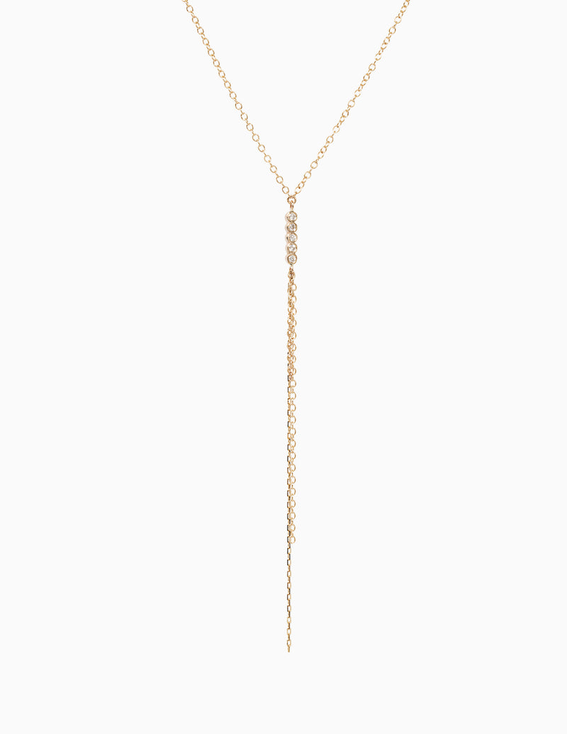 Five Diamond and Chain Necklace