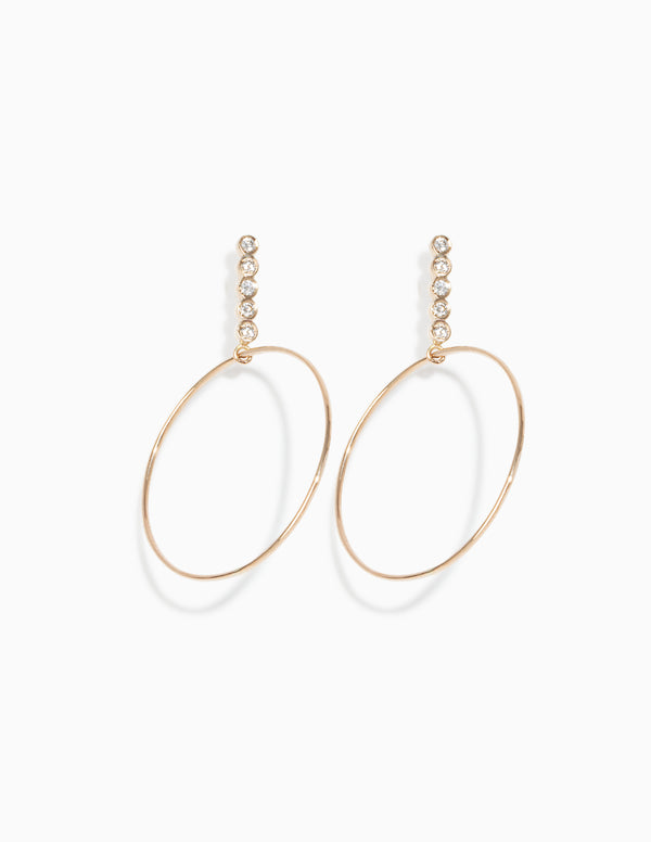 Classic Five Diamond Drop Hoops