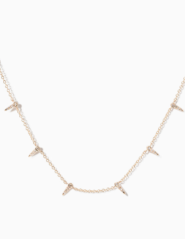 Pave Star Point Interval Necklace